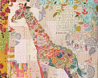 "Poki Giraffe Collage - Laura Heine - Applique Quilt -  Giraffe 53""x43"" DIY Pattern Or Kit Option - full size reusable template pattern"