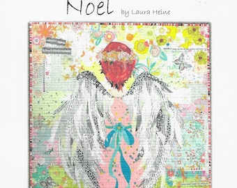 "Angel Collage - Laura Heine Noel - Applique Quilt - 32""x36"" - DIY Pattern Or Kit Option - full size reusable template"