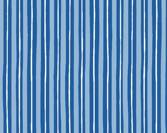 Striped Fabric, Little Stripe, Kimberbell Basics - Maywood Studio, Kim Christopherson -  MAS 8242 B - Blue - Priced by the Half Yard
