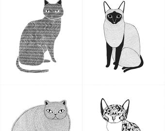Catnip Cat Fabric, Black & White Cats, Gingiber for Moda, 48230 11 Cat Blocks - priced by the Panel