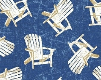 Nautical Fabric - Adirondack Chairs - Shoreline by Whistler Studio for Windham Fabrics 50112 1 Navy - Priced by the 1/2 yard