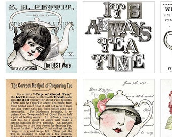 Tea Patch Fabric, Tea Pot, Tea Text - Hatters Tea Party - by Janet Wecker Frisch - Quilting Treasures 26146  - 24-Inch Panel
