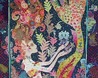 "Mermaid Collage - DIY Pattern Or Kit Option - Laura Heine - Applique Quilt  - Sirene Pattern 44""x72"" - full size reusable template pattern"