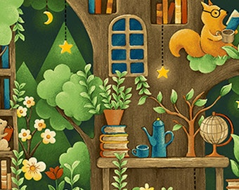 Forest Fable - Animal Village - Animals & Books - Paintbrush Studio - 120 19614 Green - Priced by the 1/2 yard