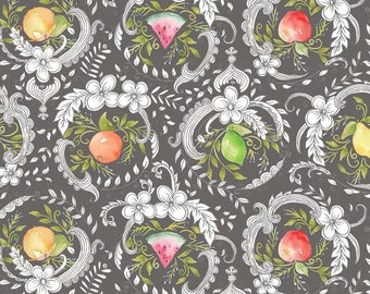 Fruit Fabric - Botanique by Ana Davis - Blend Fabrics 113 116 01 2 Georgette Grey - Priced by the 1/2 yard