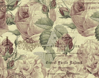 Vintage Travel Fabric - Rose Floral - Time Travelers Memoir - Iron Orchid for Clothworks - Y 2082 59 Tea - Priced by 1/2 yard - cut to order