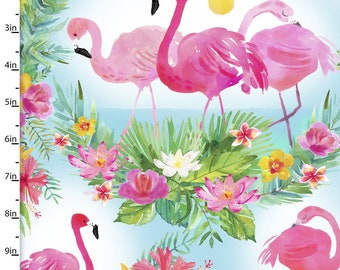 Tropical Fabric - Flamingo Scenic - 3 Wishes Fabric Tropicale 13775 Pink Blue - Priced by the 1/2 yard