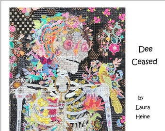 "Dee Ceased Collage - Laura Heine - Fusible Applique - Skeleton Woman 24x36"" - DIY Pattern Or Kit Option - full size reusable template"