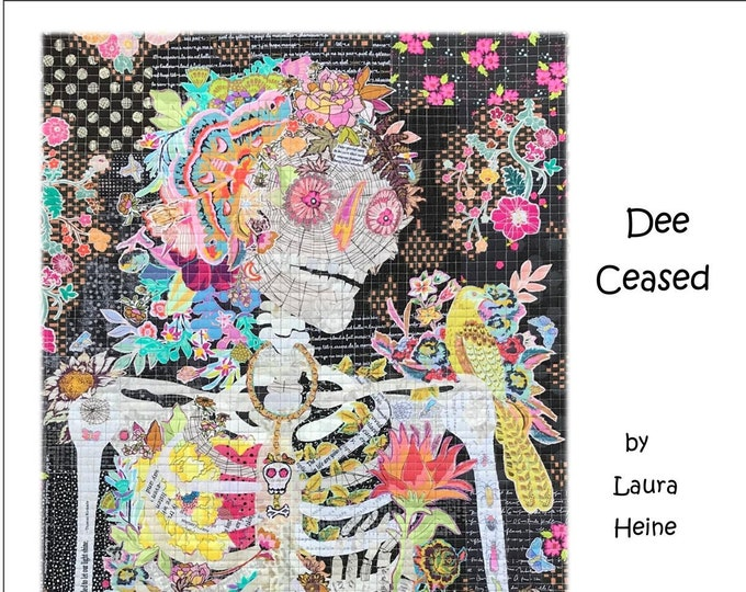 "Featured listing image: Dee Ceased Collage - Laura Heine - Fusible Applique - Skeleton Woman 24x36"" - DIY Pattern Or Kit Option - full size reusable template"