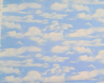Cloud Fabric - Sky Fabric - Landscape Medley - Elizabeth Studio - 505 Light Blue - White Clouds - Priced by the half yard