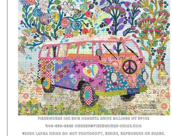 "Love Bug Collage - Laura Heine - Fusible Applique - Camper Van Peace Mobile 28x28"" - DIY Pattern Or Kit Option - full size reusable template"