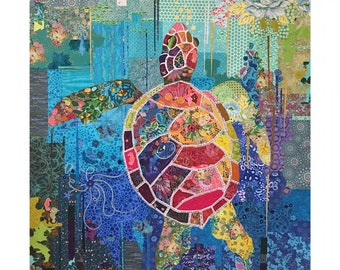 "Turtle Collage - Laura Heine - Applique Quilt - Seawell Turtle 45""x60""  - DIY Pattern Or Kit Option - full size reusable template"