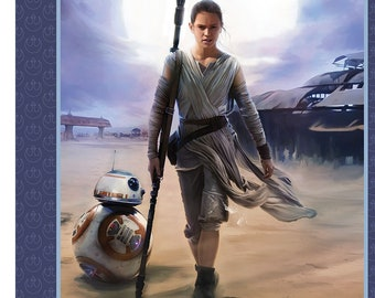 Star Wars Fabric - Immortals Rey - Resistance - Licensed Fabric - Camelot 7360030 - Priced by the 36-Inch Panel