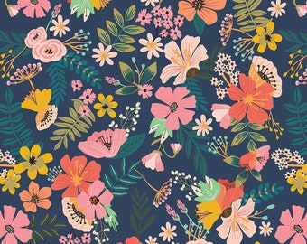 Gardenara Dainty Flower Fabric - Garden Flower - Floral Pet by Mia Charro - Blend Fabrics 129 101 03 1 Navy - Priced by the 1/2 yard