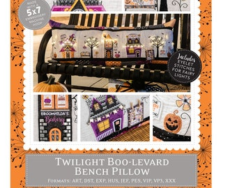 Machine Version Embroidery pattern Twilight Boo-Levard Bench Pillow By Kim Christopherson -  KimberBell - DIY Project - KID594 CD