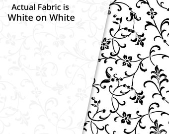 Rambling WHITE on White Traditional Scroll - Tone on Tone White  - P&B Textiles RA12 809 W - Priced by the half yard