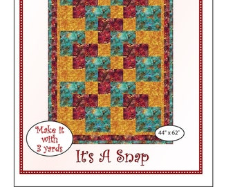 """Fabri-Cafe 3-Yard Quilt - It's A Snap - Mystery Quilt Kit - Finishes 44"""" x 62"""""""