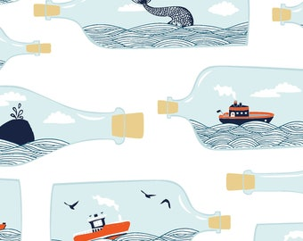 Ship in A Bottle, Nautical Fabric, Hook Line & Sinker - Dark and Stormy  from Dear Stella ST 821 White - Priced by the 1/2 yard