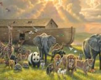 Noah's Ark - 2 by 2 Rainbow Animals - Abraham Hunter for Elizabeth Studio 9601 - Priced by the 24-Inch Panel