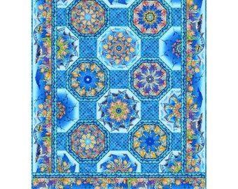 "One Fabric Kaleidoscope Calypso Undersea Border Fabric - In The Beginning Jason Yenter - 2CAL 1 Blue - DIY Quilt kit 63""x85"""