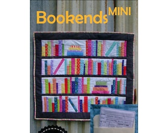 "Bookends Mini - Small Quilt Wall Hanging - Library Shelf - Laura Piland - DIY Project Finishes 24""x28"""