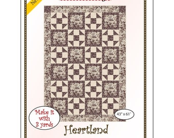 """Fabri-Cafe 3-Yard Quilt - Heartland - Mystery Quilt Kit - Finishes 43"""" x 61"""""""