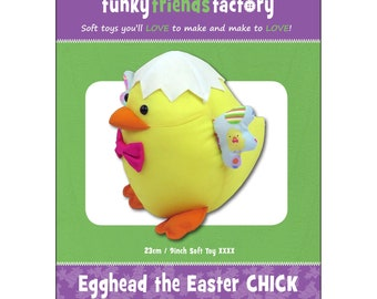Chicken Stuffed Toy Pattern - Funky Friends Factory designed by Pauline - Egghead Easter Chick 4743 - DIY Pattern