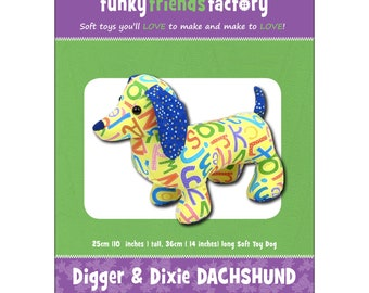 Dog - Stuffed Toy Pattern - Funky Friends Factory designed by Pauline - Digger Dachshund 4651 - DIY Pattern