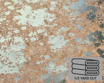Natural Cork Fabric with Silver Splatter - Cork Leather - Stitchable Cork - Vegan Leather Alternative - Sallie Tomato - Precut 1/2 yard