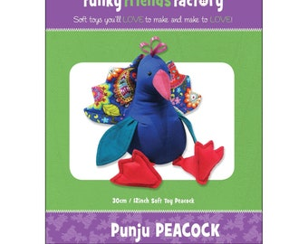 Peacock Stuffed Toy Pattern - Funky Friends Factory designed by Pauline - Punju Peacock 4392 - DIY Pattern