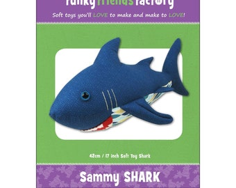 Shark Stuffed Toy Pattern - Funky Friends Factory designed by Pauline - Sammy Shark 4521 - DIY Pattern