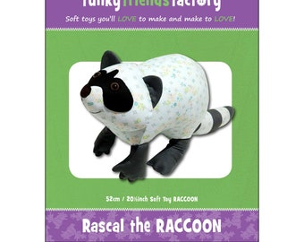 Raccoon - Stuffed Toy Pattern - Funky Friends Factory designed by Pauline - Rascal Raccoon 2663 - DIY Pattern