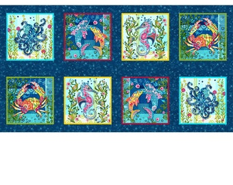 Blooming Ocean - 8-Patch Block Panel - Nautical Animals - Pam Vale for Studio E - 5411 77 - Priced by the 24-Inch panel