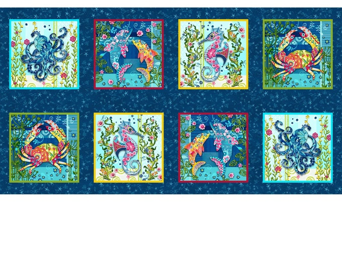 Featured listing image: Blooming Ocean - 8-Patch Block Panel - Nautical Animals - Pam Vale for Studio E - 5411 77 - Priced by the 24-Inch panel