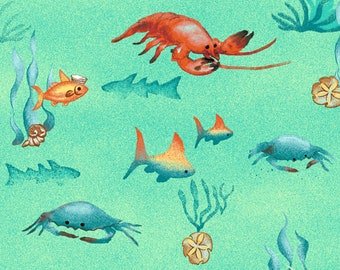 Sea Creatures - Salty Dog by Geoff Allen - Studio E - 4706 67 Aqua - Priced by the half yard