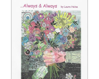 "Bouquet Flower Collage - Always & Always Laura Heine - Fusible Applique - 18x24"" - DIY Pattern Or Kit Option - full size reusable template"