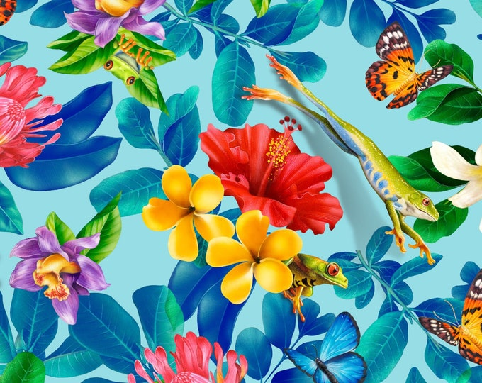 Featured listing image: Frogs - Jewels of the Jungle - Flora & Fauna - Lori Anzalone for StudioE Fabrics 5561 17 Cerulean Blue -  Priced by the 1/2 yard