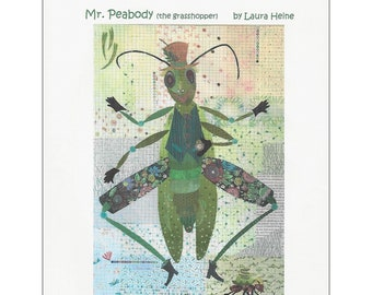 "Grasshopper Collage - Mr Peabody Laura Heine - Fusible Applique - 24""x36"" - DIY Pattern Or Kit Option - full size reusable template"
