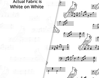 Rambling WHITE on White Songbirds - Holiday 2 - Tone on Tone White  - P&B Textiles RAH24225-W - Priced by the half yard