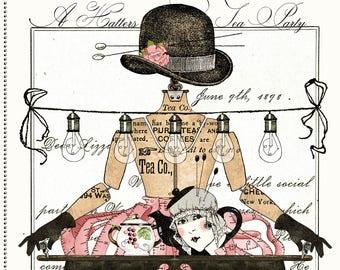 Tea Hostess Fabric, Tea Pot, Tea Mannequin - Hatters Tea Party - by Janet Wecker Frisch - Quilting Treasures 26145  - 24-Inch Panel