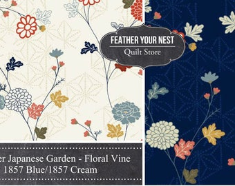 Floral Fabric - Floral Vine Japanese Garden Andover Fabric 1857 Blue - Priced by the Half Yard