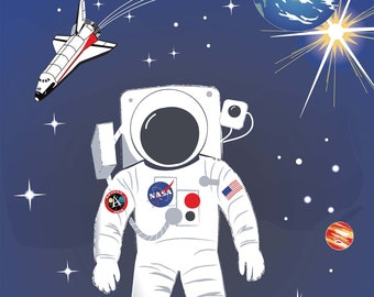 Space Man Fabric - Moon Landing - Out of this World - NASA Licensed - Riley Blake Fabric - CS 7805 - Priced by the 24-Inch Panel