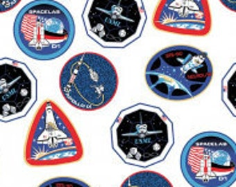 Mission Patches Fabric - Space Mission - Out of this World - NASA Licensed - Riley Blake Fabric - CS 7802 White - Priced by the half yard