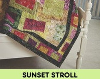 Fat Quarter Quilt, 4-color Quilt, Block Quilt - Sunset Stroll - Fat Quarter Gypsy By  Joanne Hillestad  FQG 116 - DIY Project