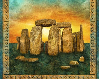 Solstice Fabric - Stonehenge 10th Anniversary - Celtic Circle - Northcott  DP39427-69 - Priced by the Panel