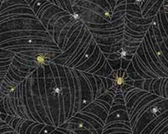 Northcott Elegantly Frightful - Spider and Web - Northcott Studio - 22199 GL - Black Gold w/Silver Glitter - Priced by the Half Yard