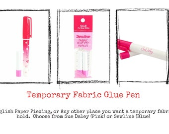 Temporary Glue Stick, Glue Pen - Water soluble - Pen & Refills sold separately - Choose Pink or Blue glue - English Paper Piecing