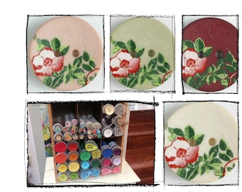 Floral Buttons - Dill Buttons - 0.78 inches/  20mm   310845, 310847, 310848, 310849 - sold by the each