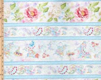 Wild Blush Fabric - Floral Border Stripe - Peony Rose - Danhui Nai - Wilmington Fabrics - 89217 143 - Priced by the half yard