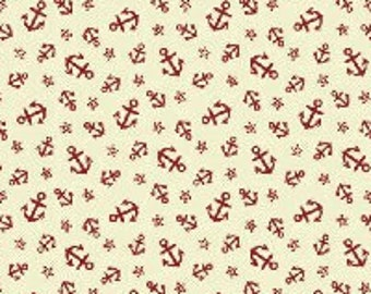 Mini Anchor Fabric - Ascot Little Red Anchors 1800's by Whistler Studios for Windham Fabrics 33321 2 - Priced by the 1/2 yard